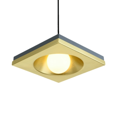 Metallic Square Hanging Pendant Light Minimal 1 Head Blue Finish Suspension Lamp for Living Room