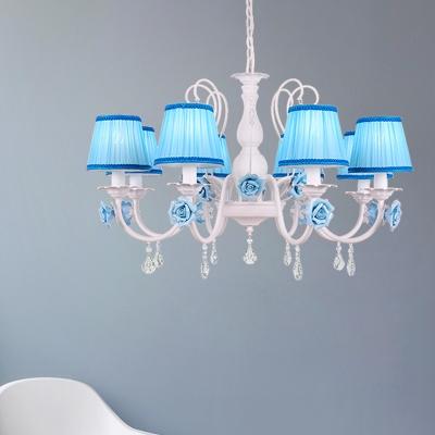 Blue Cone Suspended Lighting Fixture Korean Flower Fabric 3/6/8-Bulb Bedroom Chandelier Light with Crystal Drop