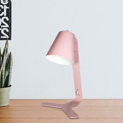 Conical Task Lighting Modern Style Metal 1-Head Pink Finish Study Lamp with Plug In Cord