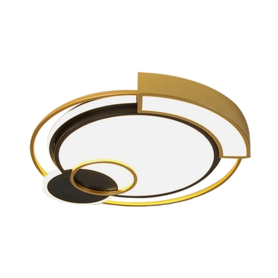Metallic Drum Flush-Mount Light Fixture Contemporary LED Ceiling Flush in Black and Gold, 16