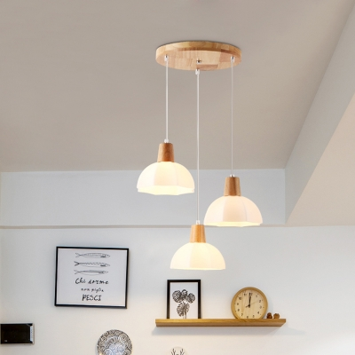 White Domed Hanging Lamp Contemporary 3 Bulbs Wood Cluster Pendant Light with Opal Glass Shade