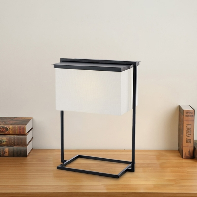 Fabric Rectangle Nightstand Light Contemporary 1 Head Black and White Table Lamp with Metal Frame Base