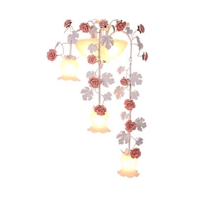 Korean Garden Rose Wall Lighting 5 Bulbs White Glass Sconce Wall Light for Living Room