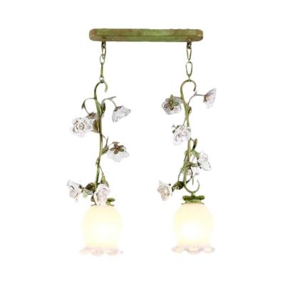 Scalloped White Glass Cluster Pendant Korean Flower 2 Bulbs Dining Room Hanging Lamp in Green