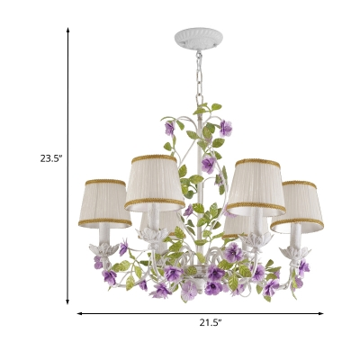 Countryside Barrel Hanging Ceiling Light 3/6/8 Lights Fabric Chandelier in White with Purple Flower Accent