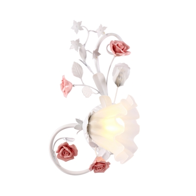 White Glass Scalloped Wall Light Pastoral Style 1 Bulb Living Room Wall Sconce with Rose Design, Left/Right