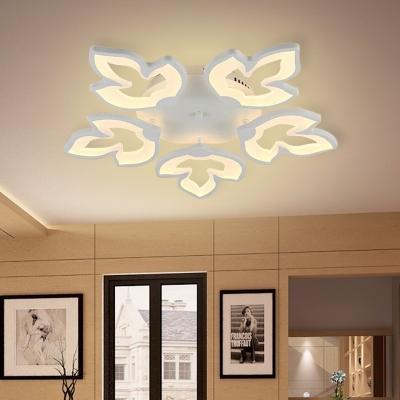 Maple Leaves Semi Flush Light Fixture Modernist Acrylic LED White Flush Mount Ceiling Lamp in White/Warm Light