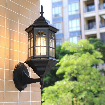 Metallic Castle Shape Wall Mount Lighting Lodges 1-Head Outdoor Sconce Lamp in White/Black/Brass