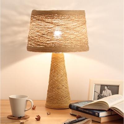 White/Tan Finish Barrel Reading Lamp Asian 1-Head Rattan Night Table Lighting for Study Room