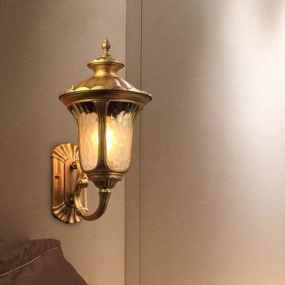 Country Lotus Wall Sconce Light 1 Head Water Glass Wall Lamp in Brass/Black for Outdoor