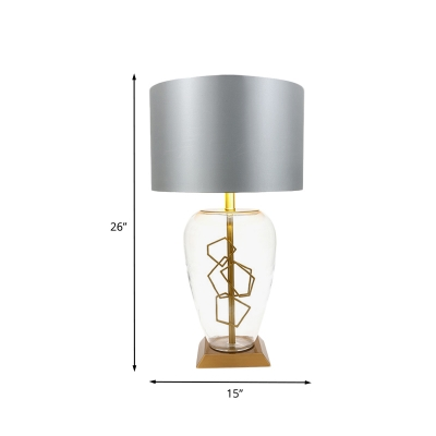 Drum Night Table Lamp Simplicity Metal 1 Light Bedroom Nightstand Light in Grey with Clear Glass Deco