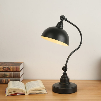 Gooseneck Arm Metal Task Light Industrial 1 Head Study Room Adjustable Reading Lamp in Black with Dome Shade