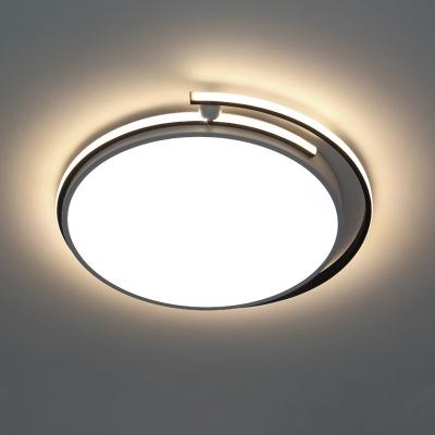 White Circular Flush-Mount Light Fixture Modernist LED Acrylic Flush Ceiling Lamp, 13