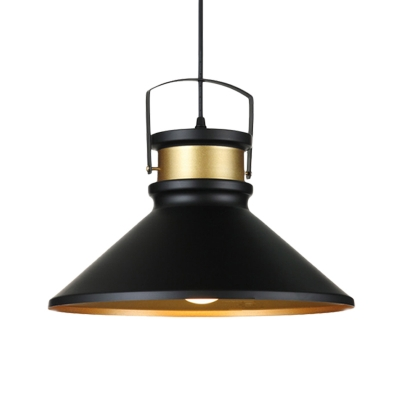 1-Head Down Lighting Farmhouse Dining Room Ceiling Lamp with Flared Aluminum Shade in Black