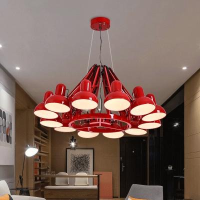12 Heads Metallic Down Lighting Vintage Black/Red Finish Swing Arm Living Room Ceiling Chandelier