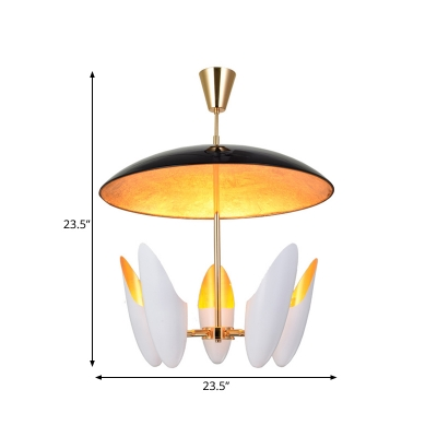 Black Dome Chandelier Contemporary 5-Bulb Metallic Hanging Pendant Light for Dining Room