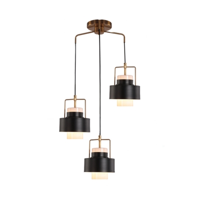 Modernism Cylinder Metallic Hanging Light Fixture 3 Heads Pendant Lighting Fixture in Black