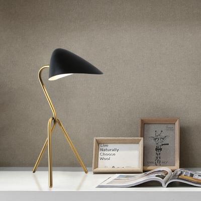 Metallic Oval Shade Reading Light Minimal Style 1-Head Black Finish Small Desk Lamp with Tripod Design