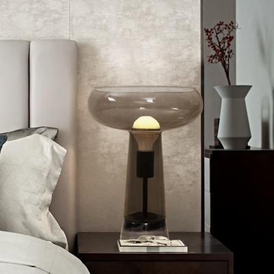 Smoke Gray Glass Torch Table Light Contemporary 1-Bulb Nightstand Lighting for Bedroom