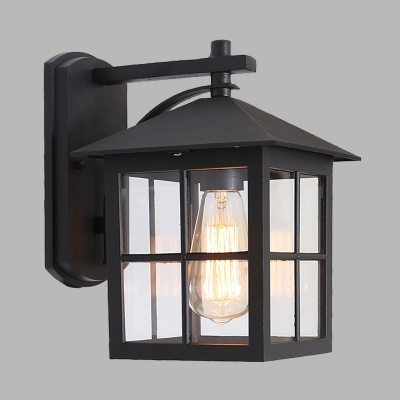 1-Light Sconce Light Lodges Outdoor Wall Mount Lamp Fixture with Cuboid Clear Glass Shade in Black