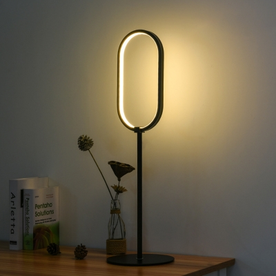 Oval Shaped Table Light Minimalist Metal 1-Light Black Finish Nightstand Lighting for Bedroom