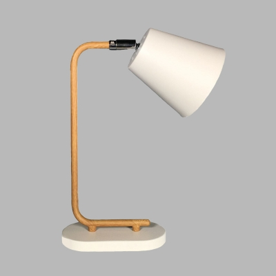 Tapered Desk Lamp Simplicity Style Metal 1 Bulb Bedroom Reading Light in White with Oval Base