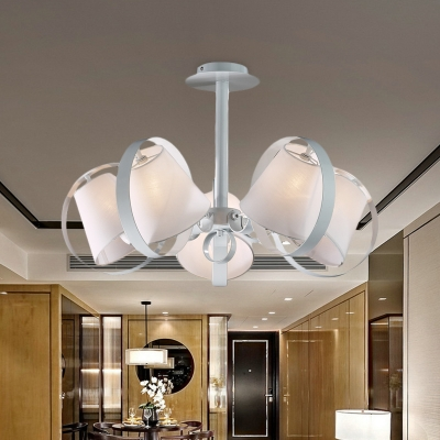 White Bell Semi Flush Mount Lighting Contemporary 5-Light Fabric Close to Ceiling Lamp with Metal Ring