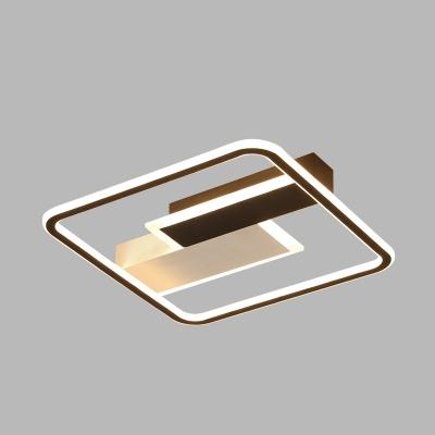 Black and White Square Ceiling Light Simplistic Aluminum LED Flush Mount Lamp for Bedroom, 18