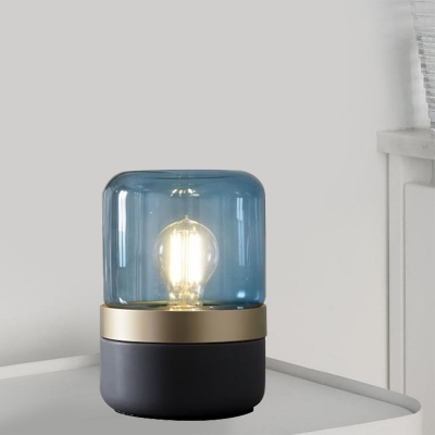Blue Glass Cylinder Nightstand Light Modern 1 Head Night Table Lamp with Metal Base for Bedroom