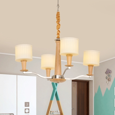 4 Bulbs Dining Room Chandelier Lamp Modern Beige Wood Pendant Light with Cylinder Cream Glass Shade