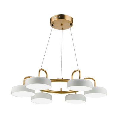 Drum Chandelier Lamp Contemporary Metal 6-Head White and Gold Finish Hanging Light Fixture