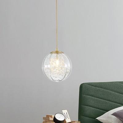 1-Bulb Bedside Pendant Light Modern Brass Hanging Lamp with Pumpkin Ball Clear Glass Shade