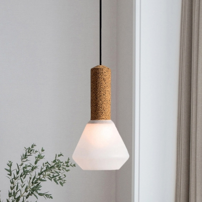 1-Light Bedside Hanging Light Modernist Wood Ceiling Pendant Lamp with Diamond Textured White/Smoke Gray Glass Shade