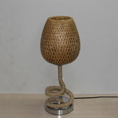 2-Layer Teardrop Shaped Table Light Asian Bamboo Rattan 1 Bulb Flaxen Night Lamp with Coiled Roped Stand