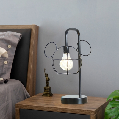 Black Finish Mouse Head Cage Night Light Cartoon 1 Light Metal LED Night Table Lamp