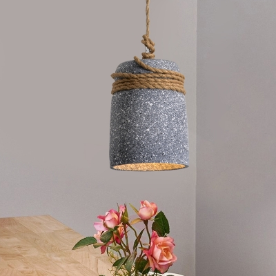 Black/Grey/White 1 Head Pendant Lighting Industrial Cement Bell Hanging Ceiling Lamp with Rope Rod, Black;white;grey, HL614532
