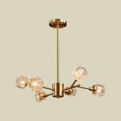 Brass 6 Heads Crystal Chandelier Contemporary Metal Sputnik LED Hanging Ceiling Lamp