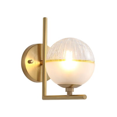 Clear and Frosted Glass Globe Sconce Simple 1 Head Wall Mount Light with Right Angle Arm in Gold