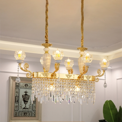 Contemporary Flower Island Hanging Light 6/8 Bulbs Crystal Ceiling Suspension Light in Gold with Droplet