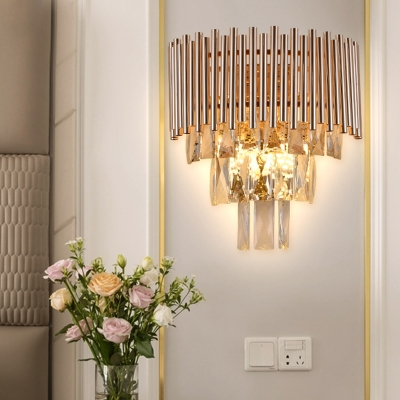 Crystal Layered Wall Mount Light Modernist 3 Heads Gold Finish Wall Sconce Lamp for Living Room, HL615237