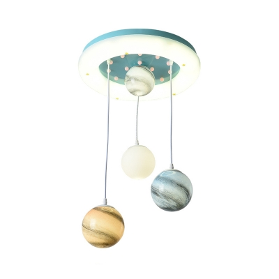 Nordic Globe Multiple Hanging Lights Acrylic 4 Heads Kids Bedroom LED Suspension Lamp