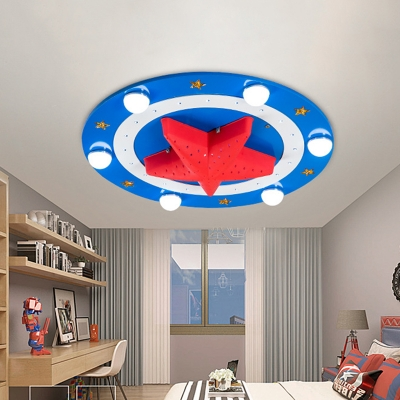 Star Plastic Ceiling Mounted Fixture Cartoon 6 Lights Red and Blue Flush Lighting