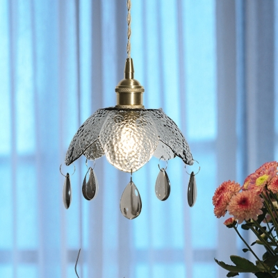 Vintage 1 Bulb Pendant Lighting Brass Scalloped Bowl Ceiling Hang Fixture with Clear/Smoke Gray Water Glass Shade