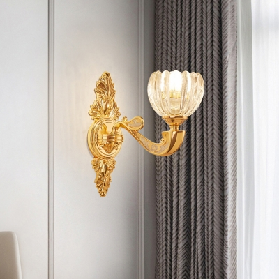 1/2-Light Wall Sconce Lighting Modernist Domed Crystal Block Wall Mount Lamp Fixture in Gold