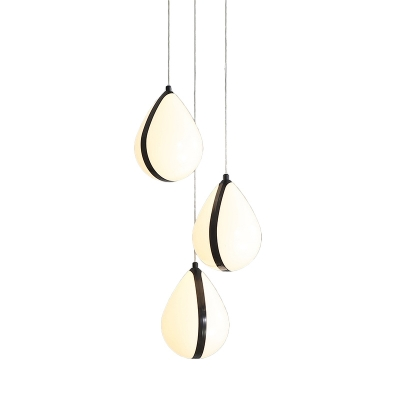 Black Waterdrop Cluster Hanging Lamp Modernist 3 Heads Acrylic Suspension Pendant for Dining Room in Warm/White Light