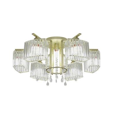 Clear Crystal Glass Gold Semi Flush Arced Cuboid 5/7-Head Modernism Ceiling Flush Mount over Table