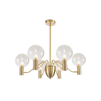 Clear Glass Globe Chandelier Lighting Postmodern 6-Light Gold Finish Hanging Pendant