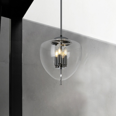 Clear Glass Peach Hanging Chandelier Vintage 4 Bulbs Chrome Finish Ceiling Suspension Light
