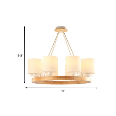 Cylinder Chandelier Pendant Light Modern White Glass 4/6/8-Light Wood Ring Hanging Ceiling Lamp