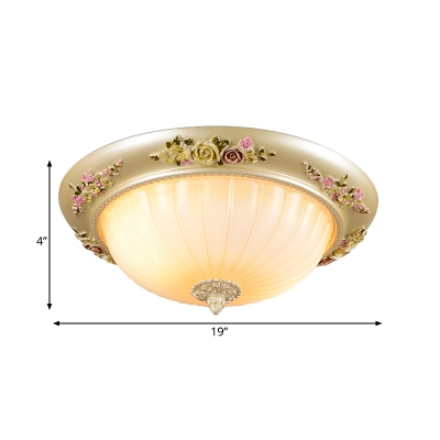 Gold 2 Heads Flush Mount Country Resin Flower Ceiling Lamp with Bowl Opal Ribbed Glass Shade, 12.5